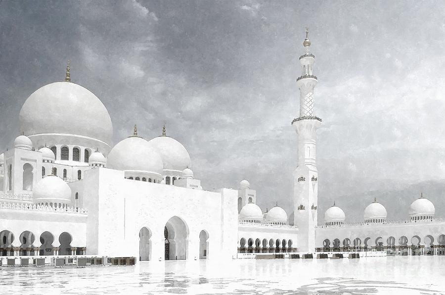 Abu Dhabi Painting - Sheikh Zayed Grand Mosque BW - Abu Dhabi UAE by Stefano Senise