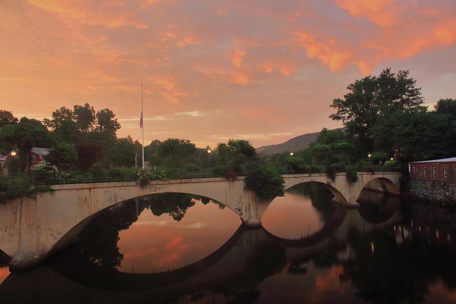 Shelburne Falls Bridge Of Flowers Sunset Photograph