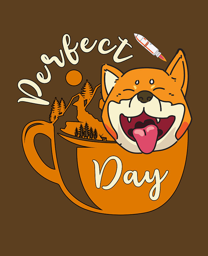 Shiba Inu Camper Outdoor Coffee Lover Perfect Day Digital Art