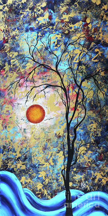 Abstract Painting - Shimmering Delight Original Abstract Tree Art Landscape Painting Gold Overlay Megan Duncanson by Megan Duncanson