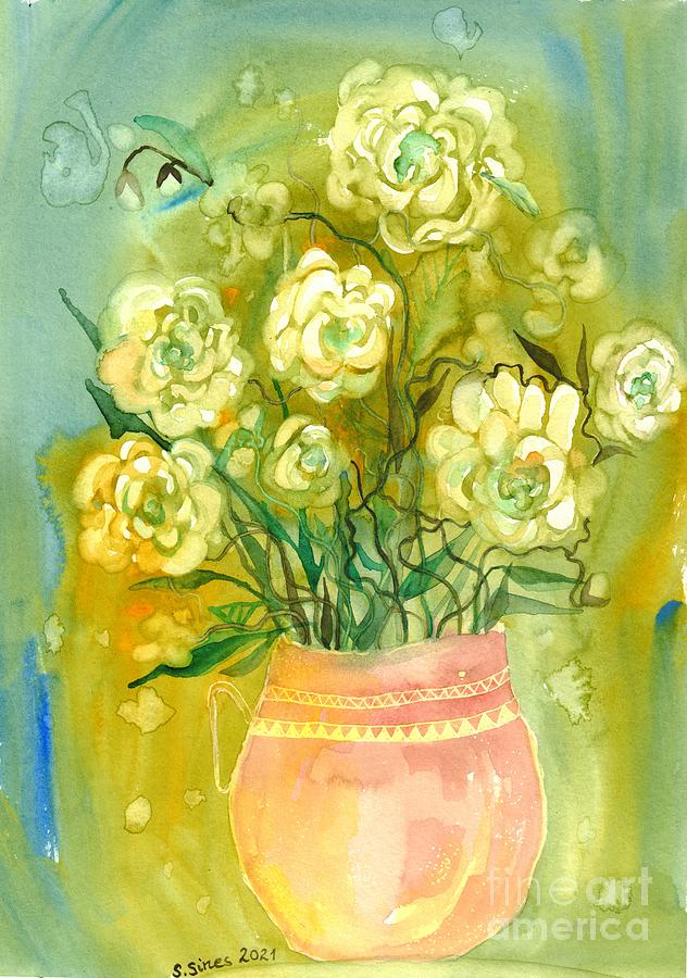 White Roses Painting - Shining Roses by Suzann Sines