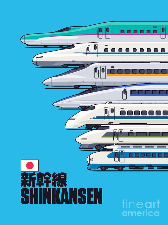 Train Digital Art - Shinkansen Bullet Train Evolution - Cyan by Organic Synthesis