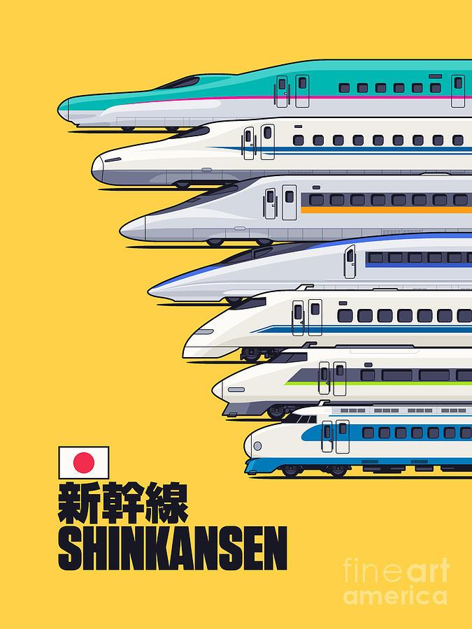 Train Digital Art - Shinkansen Bullet Train Evolution - Yellow by Organic Synthesis