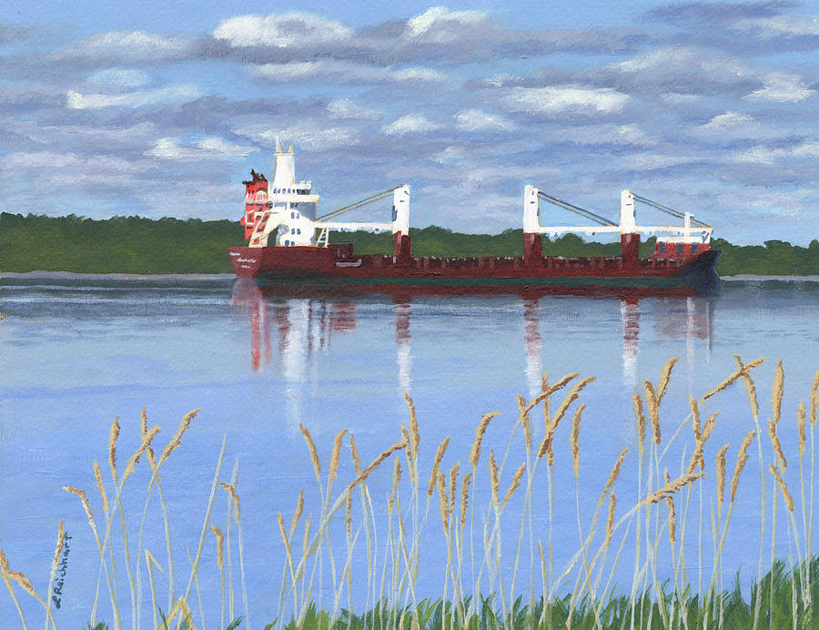 St. Lawrence River Painting - Ship on the St. Lawrence by Lynne Reichhart