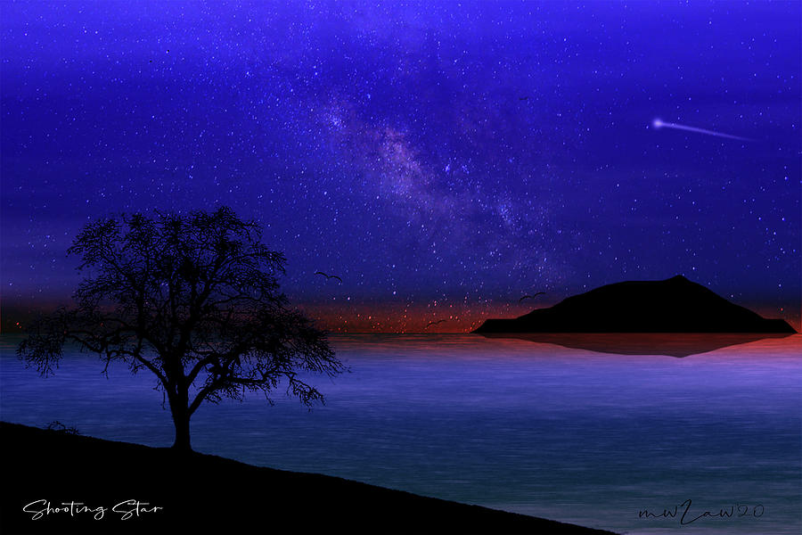 Star Digital Art - Shooting Star by Mark Law
