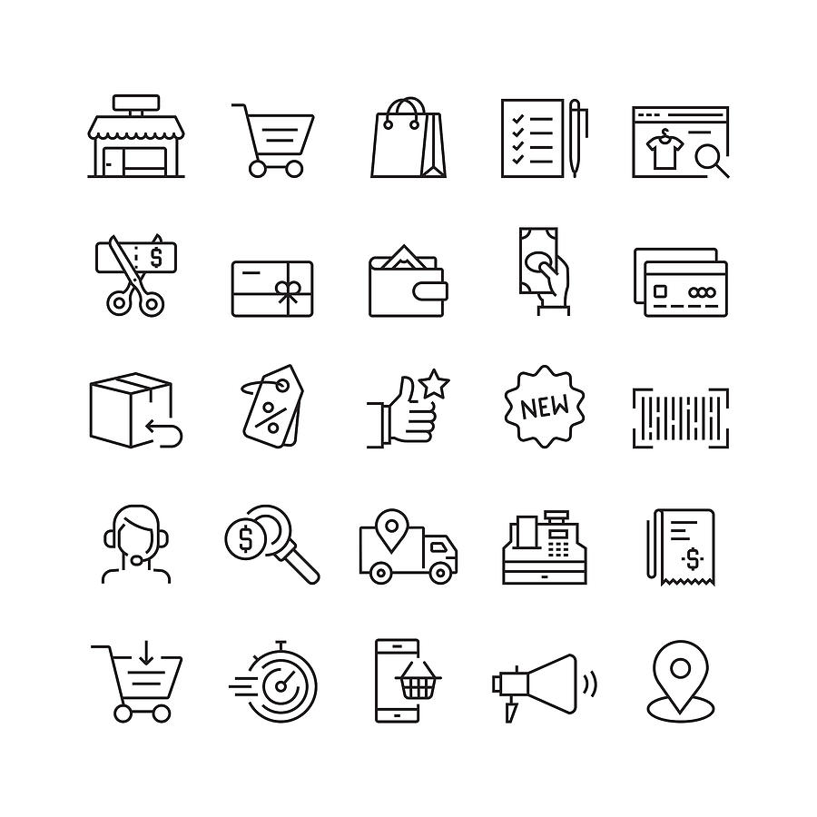 Shopping and Retail Related Vector Line Icons Drawing by Cnythzl