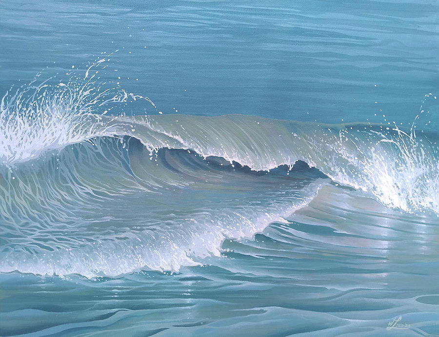 Surf Painting - Shorebreak Sidewinder by William Love