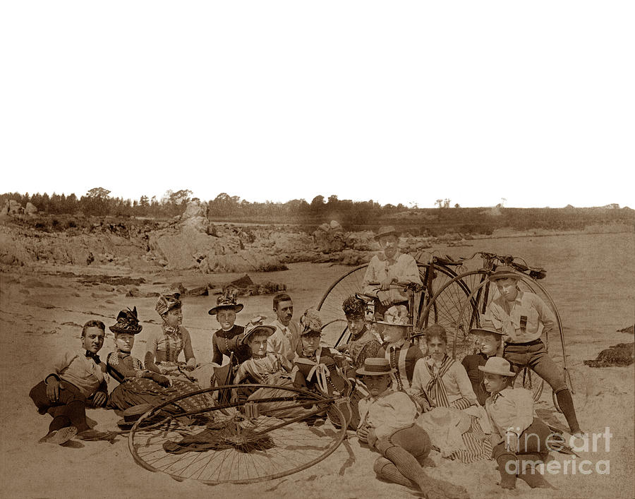 Showing a group of  15 men and women with high wheel bicycles an by California Views Archives Mr Pat Hathaway Archives