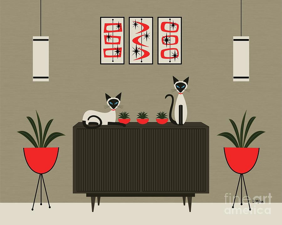 Siamese Cats Red Room by Donna Mibus