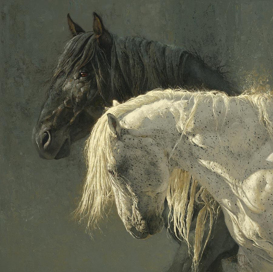Horse Painting - Side by Side by Greg Beecham