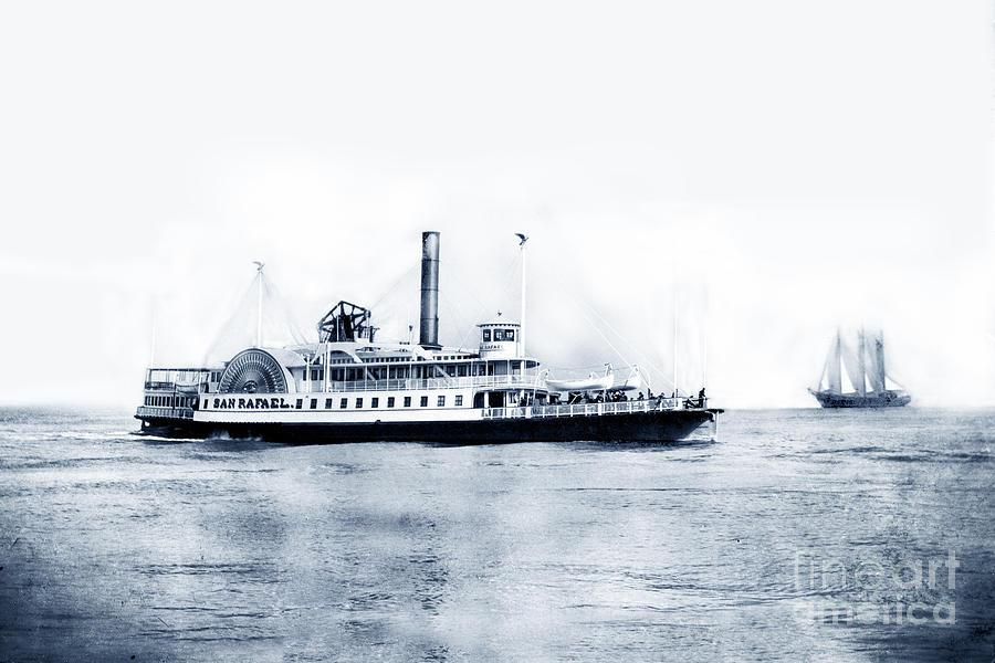 Sidewheel steamer ferry San Rafael underway on San Francisco Bay Circa 1885 by California Views Archives Mr Pat Hathaway Archives