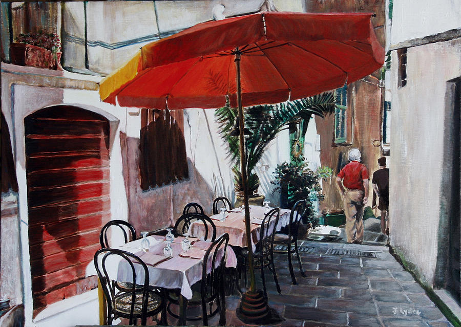 Cafe Painting - Red Umbrella Outdoor Cafe by Jennifer Lycke