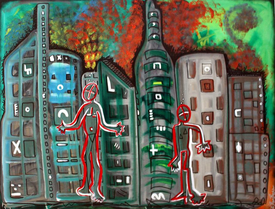 City Painting - Signs by Laura Barbosa