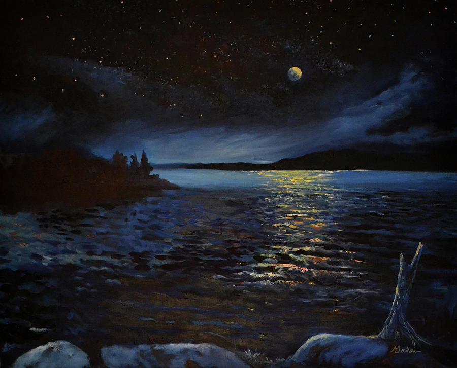 Night Sky Painting - Silence of Stars by Steve Linebaugh