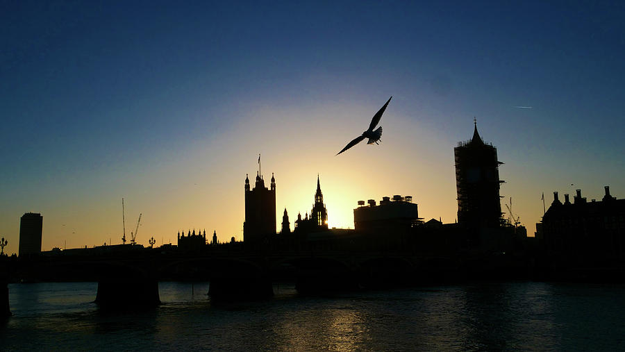 Silhouette of Parliament House in London by Santosh Puthran