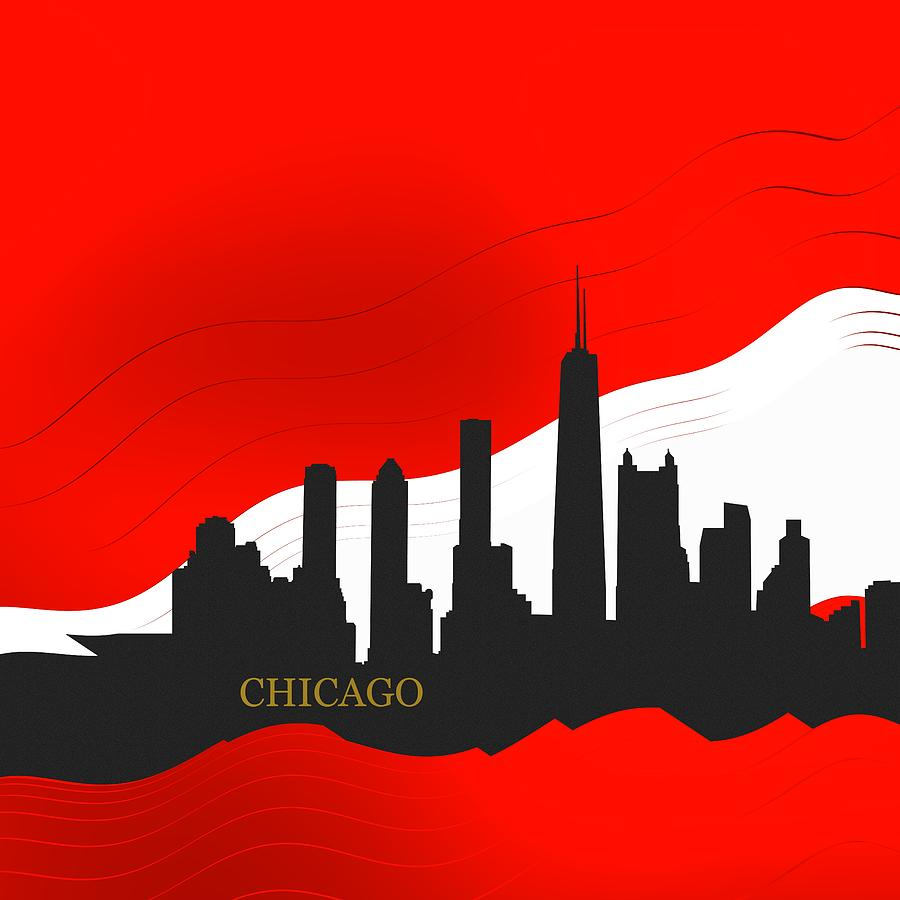 Silhouette Of Sportive City Of Chicago Digital Art