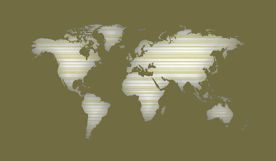 Silhouette Of World Map With Color And Lines Digital Art