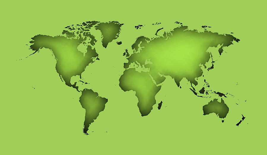 Silhouette Of World Map With Color Green Digital Art
