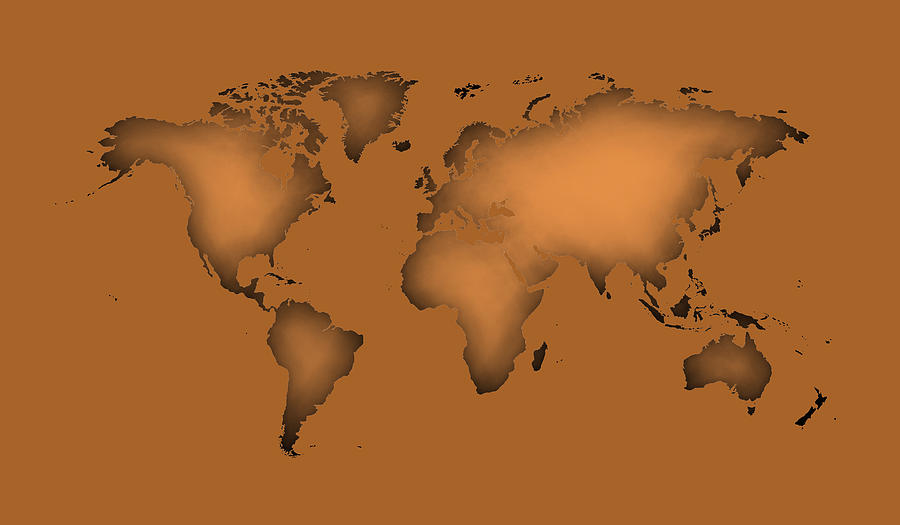Silhouette Of World Map With Cooper Color Digital Art