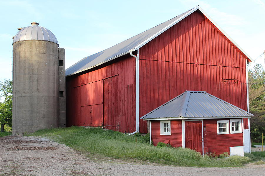 Red Barn Photograph - Silo And Barn by Callen Harty