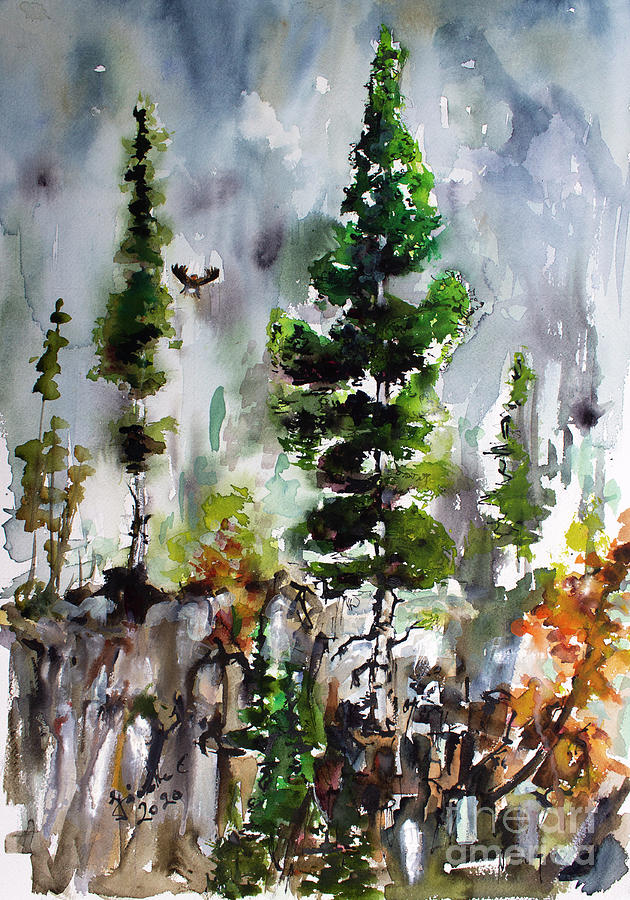 Silver Fir Trees Rocky Cliffs Portrait by Ginette Callaway
