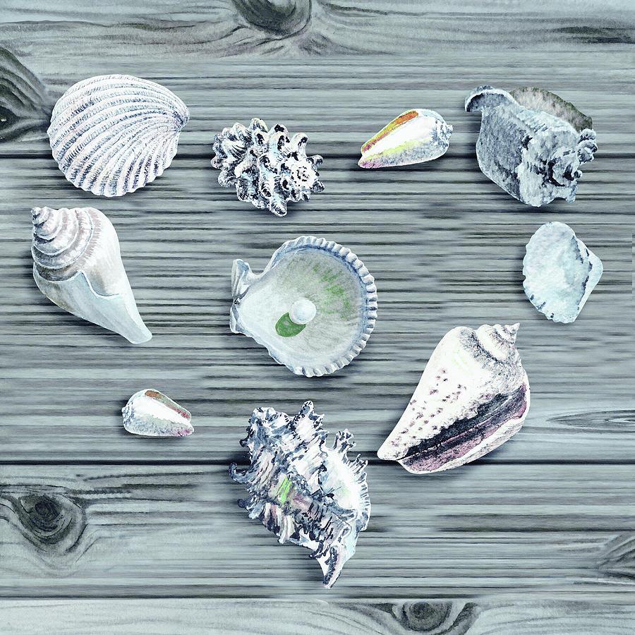 Silver Gray Seashells Heart On Ocean Shore Wooden Deck Beach House Art Painting