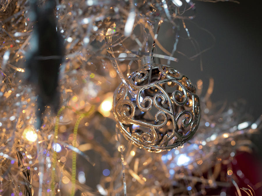 Silver Ornament and Tree by Lora J Wilson