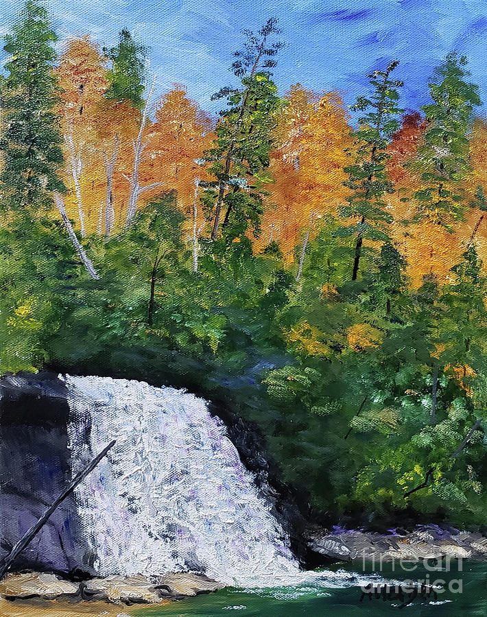 Waterfall Painting - Silver Run Falls Autumn by Stanton Allaben