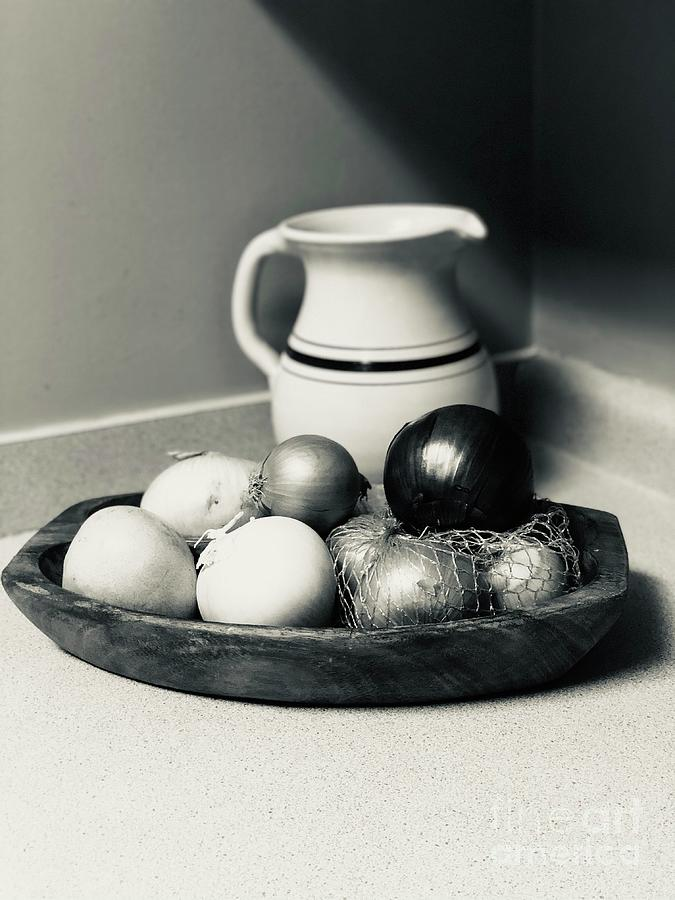 Onions Photograph - Silver Tone Still Life With Onions by Karen Francis