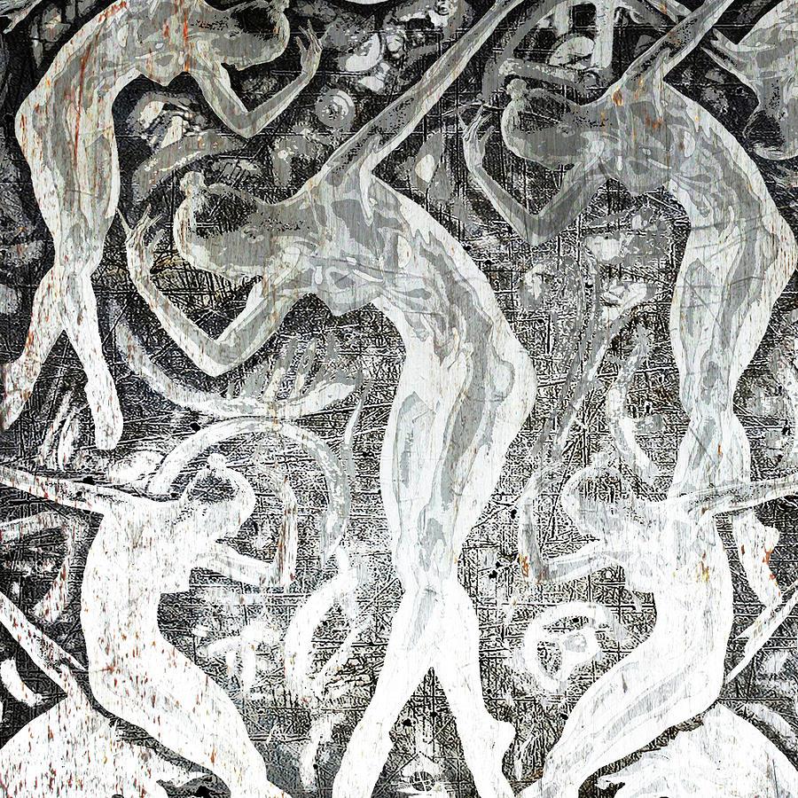 Silver Woman In The Machine Frieze Square by Tony Rubino