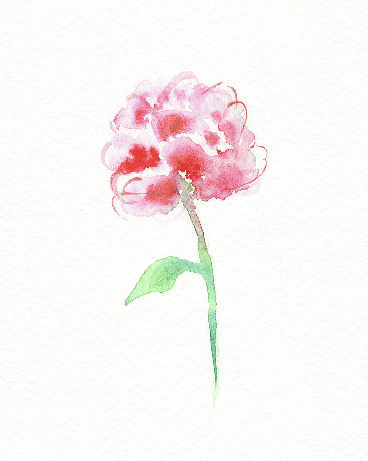 Simple Grace Beautiful Botanical Watercolor Pink Peony Flower I Painting