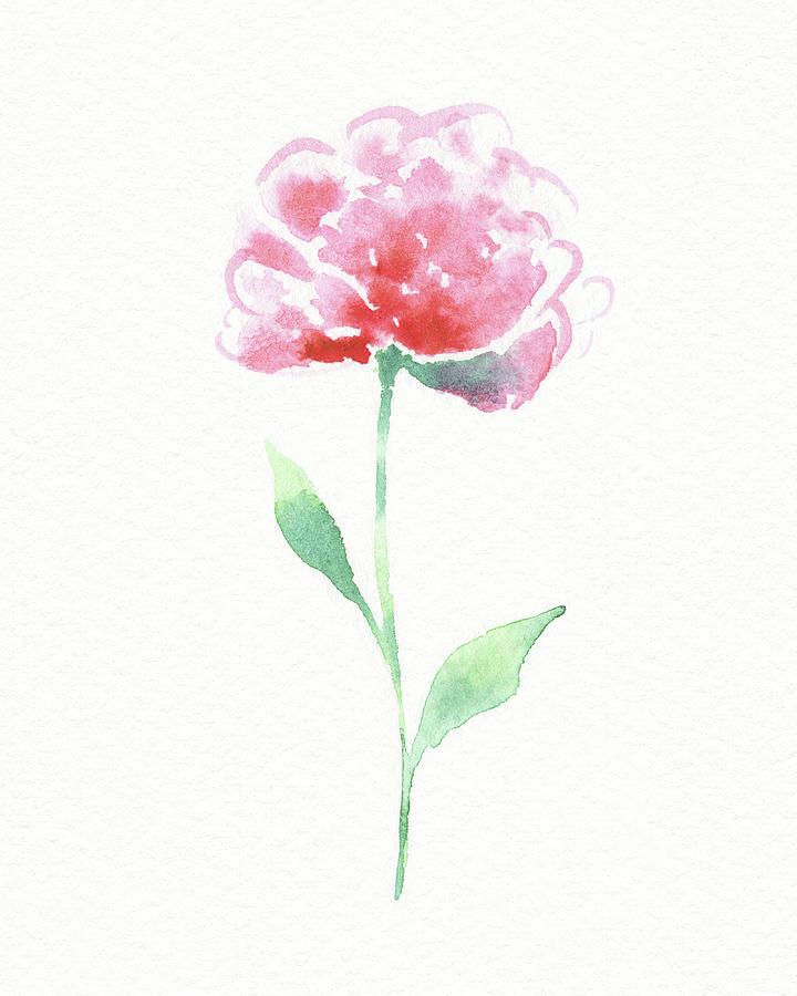 Simple Grace Beautiful Botanical Watercolor Pink Peony Flower II Painting