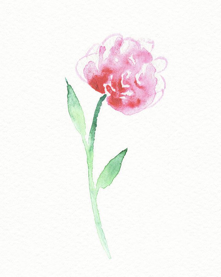 Simple Grace Beautiful Botanical Watercolor Pink Peony Flower IIi Painting