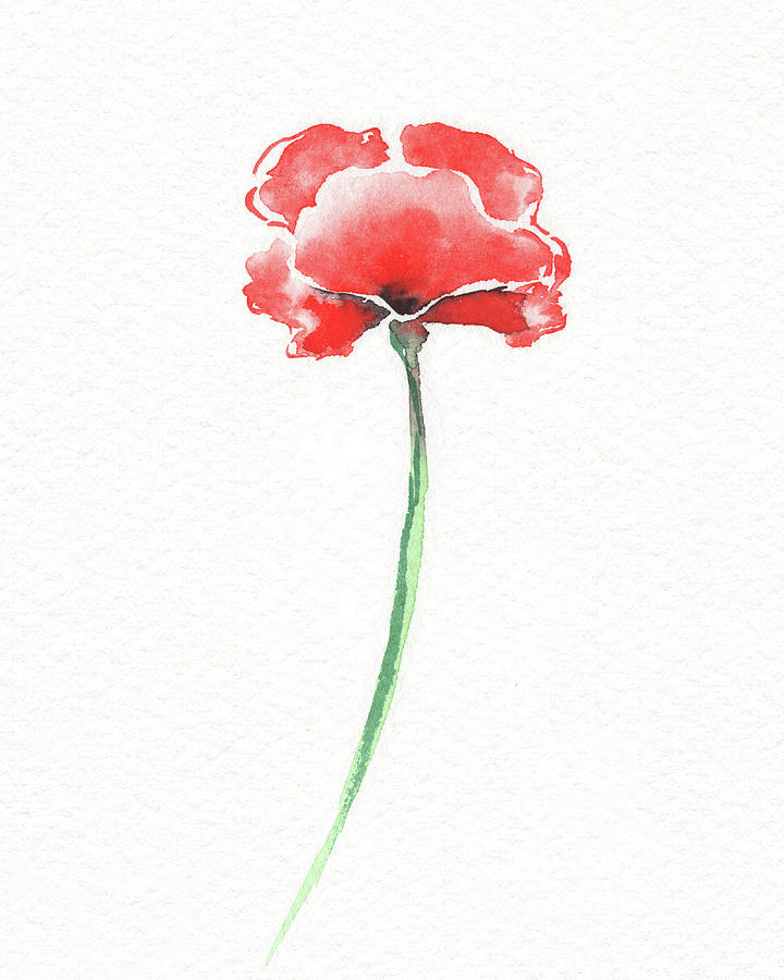 Simple Grace Beautiful Botanical Watercolor Red Poppy Flower I Painting
