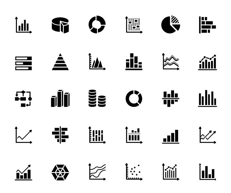 Simple Set of Graphs and Charts Related Vector Icons. Symbol Collection Drawing by Designer