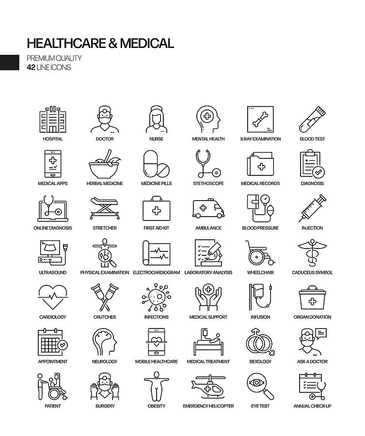 Simple Set of Healthcare and Medical Related Vector Line Icons. Outline Symbol Collection Drawing by Designer