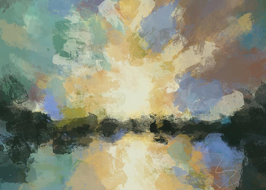 Simple Sunset Painting By Amber Favre