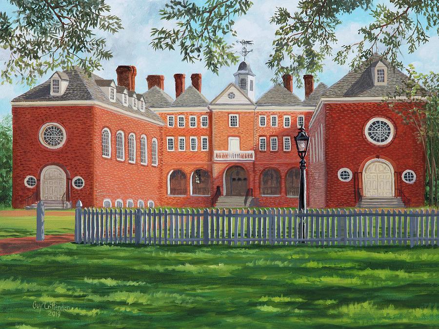 Wren Building Painting - Sir Christopher Wren Building by Guy Crittenden