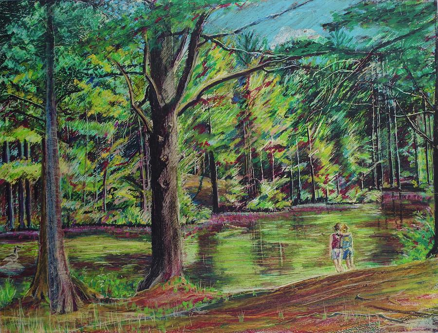 Family Pastel - Sisters At Wason Pond by Sean Connolly