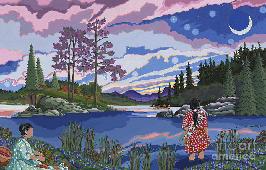 Native American Women Painting - Sisters Wildcrafting at Dawn by Chholing Taha