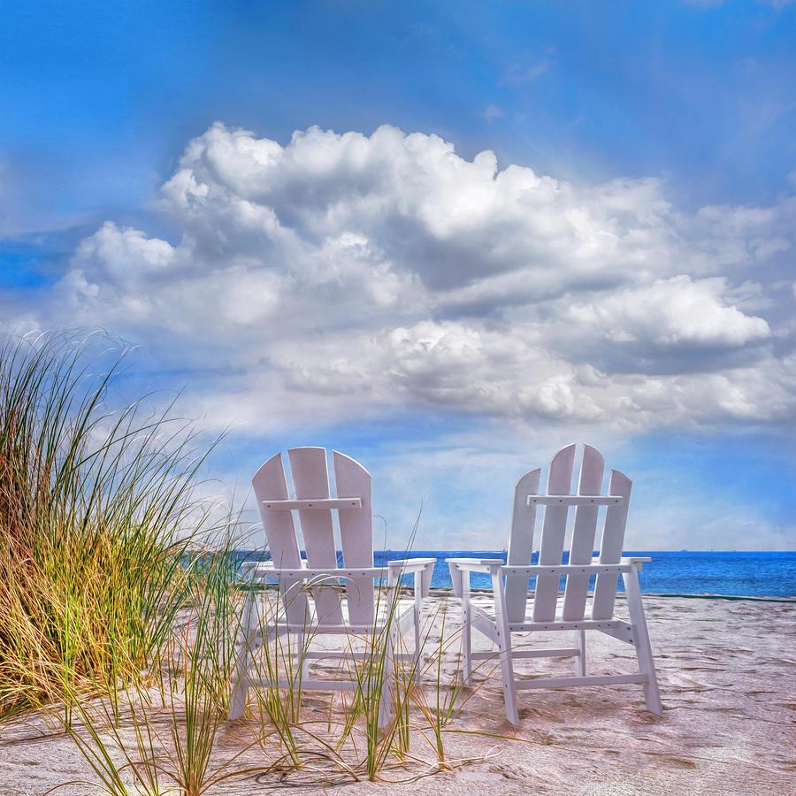 Sitting Pretty in Blues Painting by Debra and Dave Vanderlaan