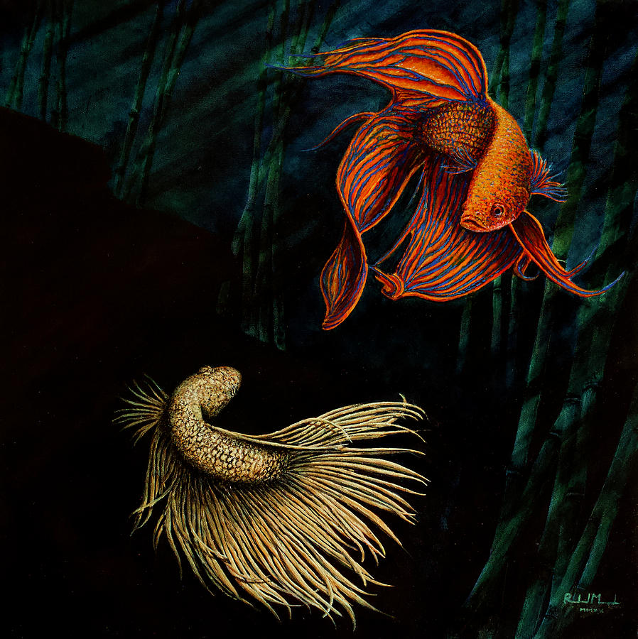 Beta Fish Painting - Sizing Up The Challenge by Roland Miguel