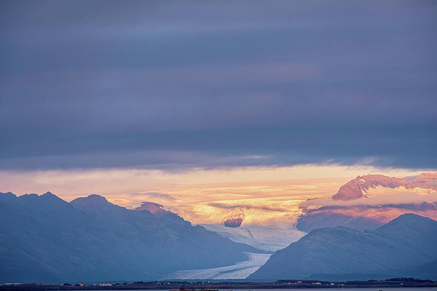 Skaftafellsjokull Glacier Tongue In Iceland At Sunset II Photograph