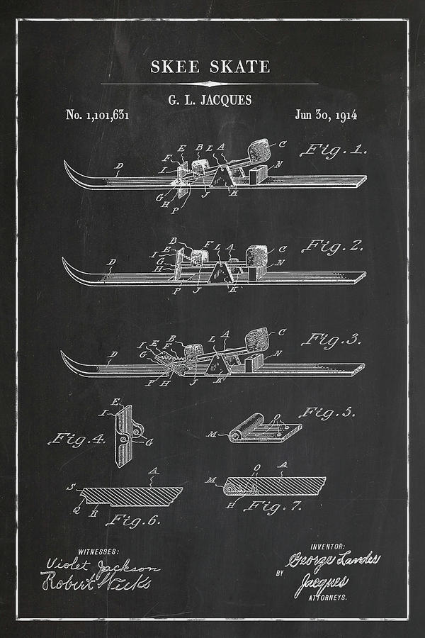 Skee Skate Blueprint Patent in Chalk Winter Patent Art by Florian Rodarte