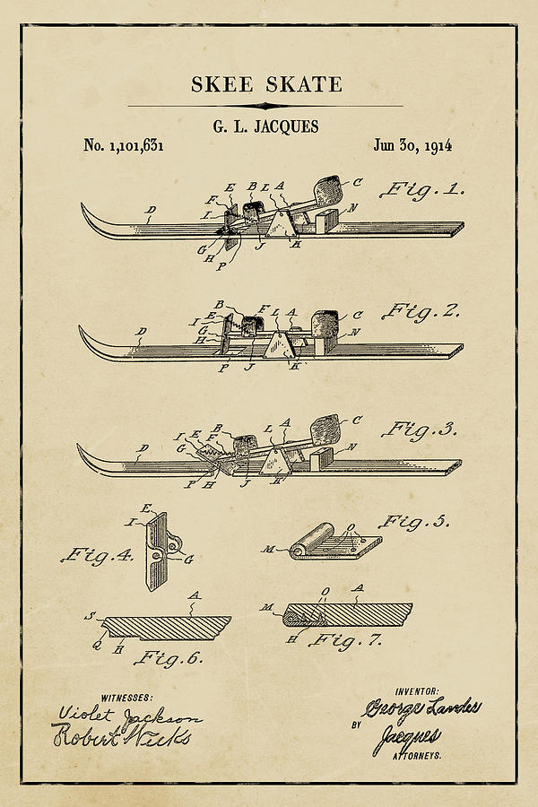 Skee Skate Blueprint Patent on Aged Paper Winter Patent Art by Florian Rodarte