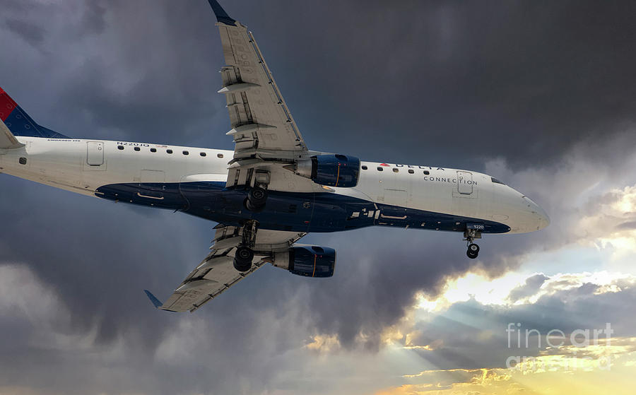 Skies Clearing - Delta On Final Approach Into Charleston International Airport Photograph