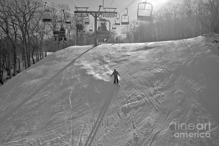 Skiing Down Rivershot Black And White by Adam Jewell