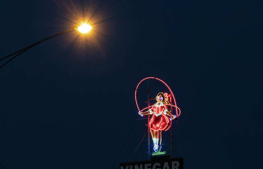 Neon Photograph - Skipping Girl  by Leigh Henningham