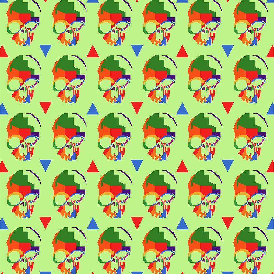 Skull Pattern Wpap Style Light Green Background Digital Art