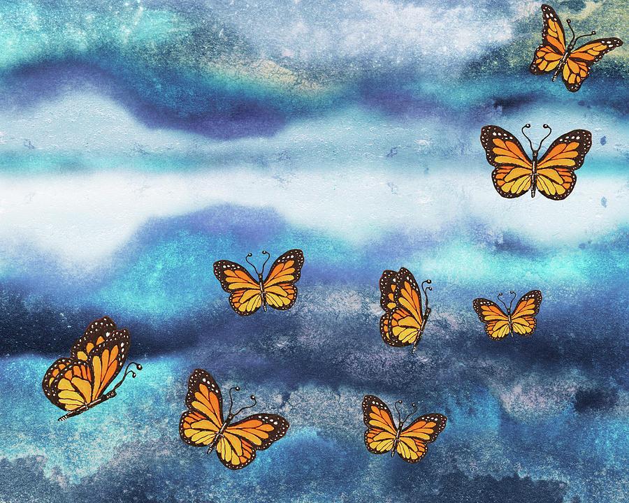 Sky Clouds Butterflies Painting